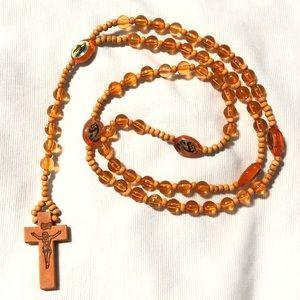 Orange Dyed Wooden Rosary 🧡